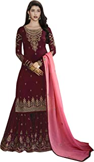 Comet Enterprise Women's Faux Georgette Sharara Salwar Suit (FN 22427; Red; Free SIze)
