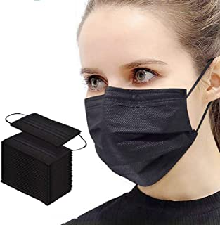Pack of 50,Black 3 Disposable Protective Face Masks with Nose Clip Elastic Ear Loop for Home, Office,School, Outdoor and O...