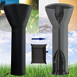 YOMIQIU Patio Heater Covers Waterproof with Zipper, Standup Round Outdoor Heater Cover Dustproof, UV-Resistant,Wind-Resistant,Snow-Resistant (H89xH34x19in), Black