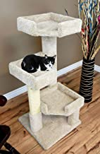 CozyCatFurniture 3 Tier Cat Tree for Large Cats, Beige Carpet