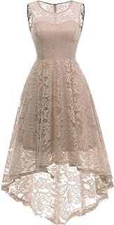 MuaDress Elegante Abendkleider Cocktailkleider Damenkleider Brautjungfernkleider aus Spitzen Knielange Rockabilly Ballkleid Rund Ausschnitt