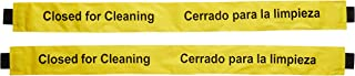 Closed for Cleaning Sign with Magnetic Ends (2 Pack) English and Spanish Nylon Sign