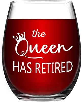 Retirement Gifts For Women - The Queen Has Retired Wine Glass - 15 oz Funny Stemless Wine Glass - Funny Retirement Gift for Her Mom Coworker