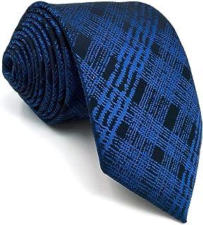 SHLAX/&WING Designer Necktie for Men Slate Blue Checkered Skinny Tie 2.36