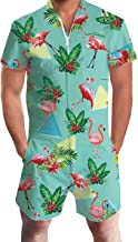 RAISEVERN Men's Rompers Male Zipper Jumpsuit Shorts 3D Printed One Piece Slim Fit Outfits Bro Short Sleeve Overalls