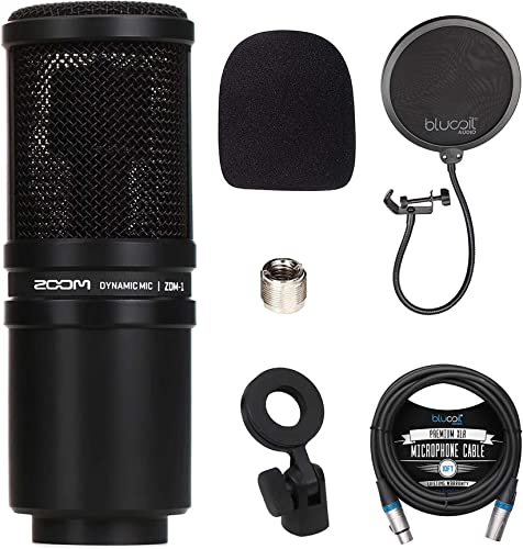 discount Zoom ZDM-1 Dynamic Microphone lowest for Podcasts, Broadcasts, and Music lowest Recording Bundle with Blucoil Pop Filter Windscreen, and 10-FT Balanced XLR Cable online sale