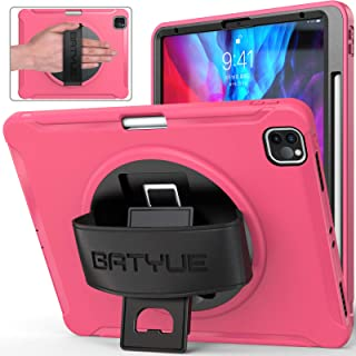 BATYUE iPad Pro 12.9 2020 & 2018 Case [Support 2nd Gen Pencil Wireless Charging] [360° Rotating Kickstand & Leather Hand Strap] [Shock Proof] High Impact Resistant Heavy Duty Rugged Case (Rose Red)