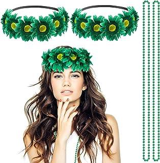 Madholly 4 Pcs St. Patrick's Day Headband Necklace Set