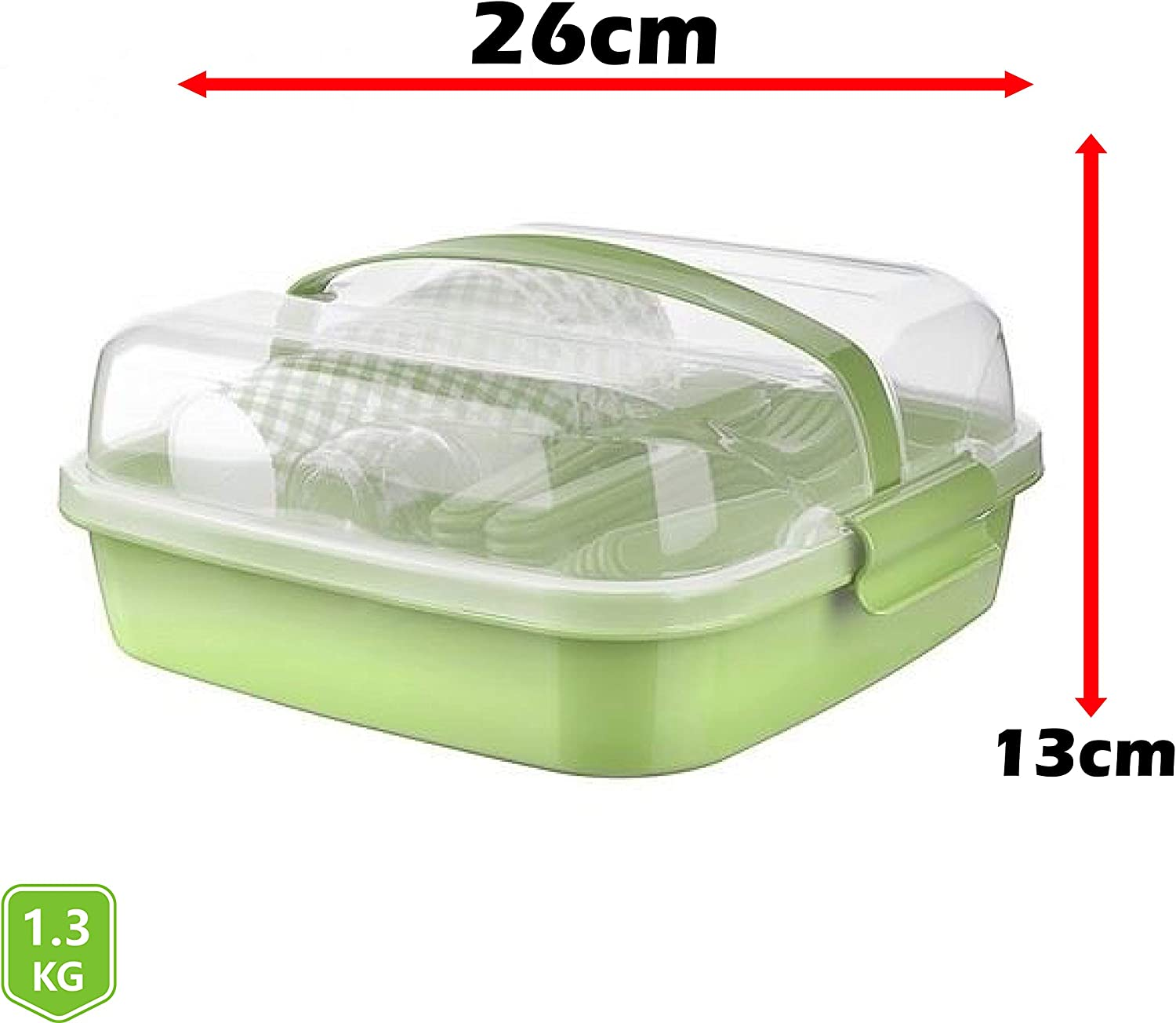 Shopivaa Green Lightweight /& Durable BPA Free Plastic Picnic Set//Camping Set//Outdoor Dining//Party Set With Carry Case | Dishwasher Safe Serves 6 People 32 Piece