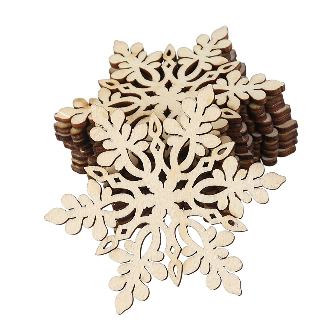 VORCOOL Christmas Wooden Snowflake Pendant Decoration Embellishments with String Unfinished Wood Disc Pack of 10