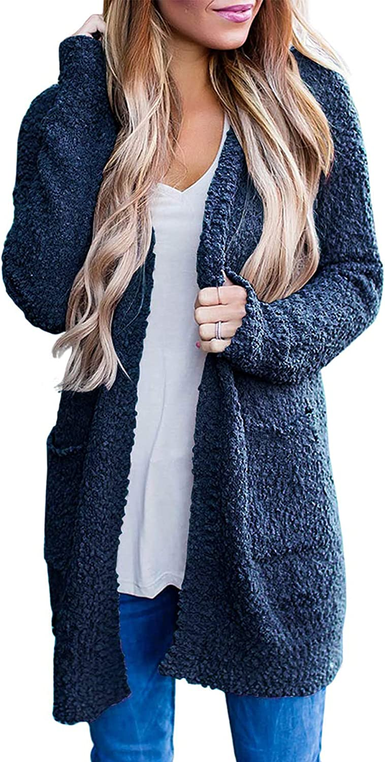 MEROKEETY Women's Long Sleeve OFFicial store Time sale Soft Sweater Chunky Fron Open Knit