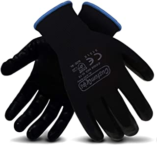 CustomGrips Cut Resistant Work Gloves, Black Nylon Liner, Ultra-Thin Breathable Polyurethane (PU) Palm Coated Gloves, Superior Grip for Wet and Dry Environments [Large, 12 Pairs]