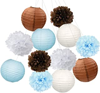 Furuix Teddy Bear Theme Baby Shower Decorations White Brown Blue Tissue Pom Pom Paper Lanterns Teddy Bear Theme Birthday Party Decorations