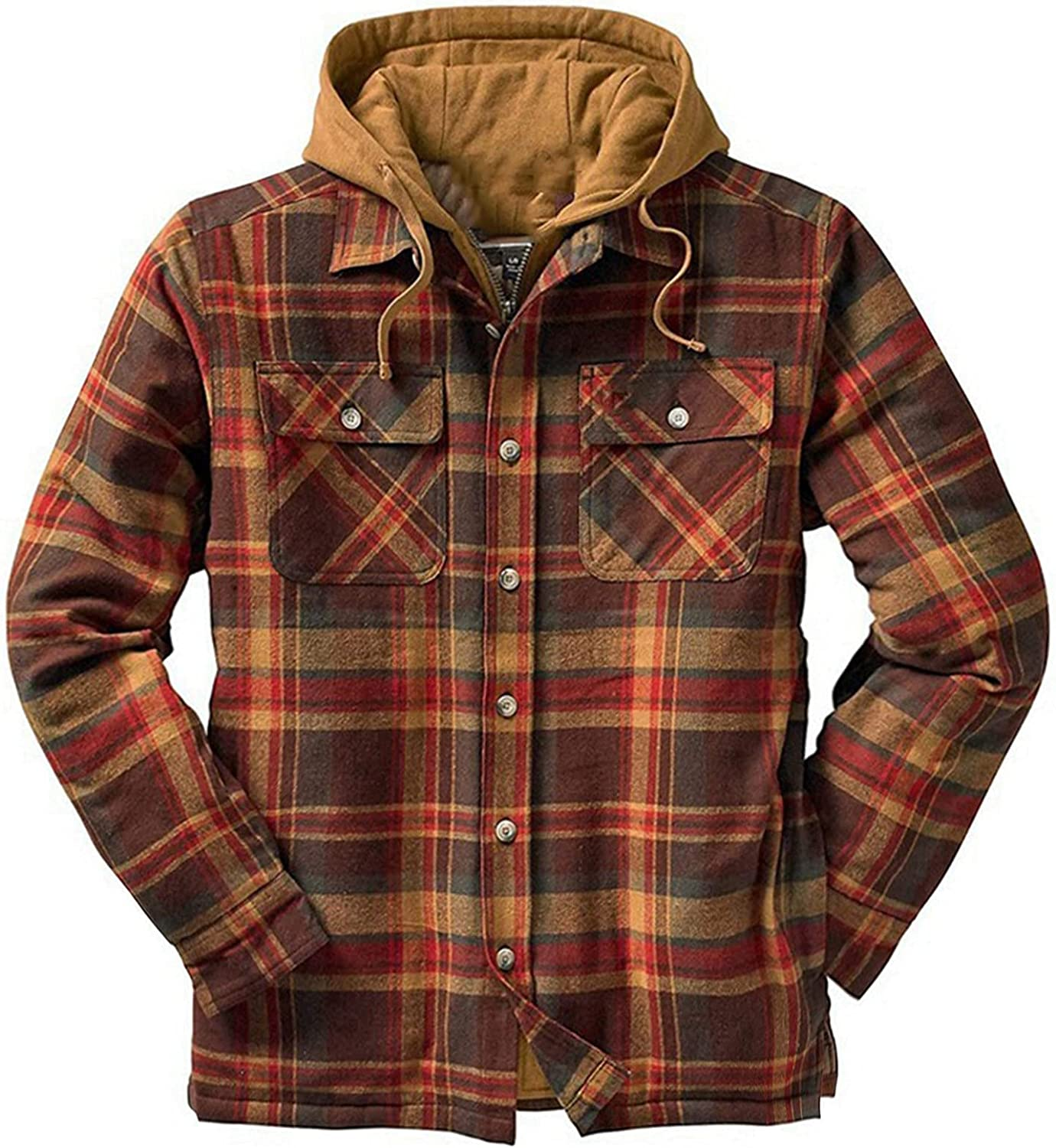 Mens Sherpa Fleece Casual Plaid Hooded Jackets Loose Lined Zip Up Lapel Coats Winter Warm Thick Hoodies Coats