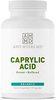 Dr Amy Myers Caprylic Acid Capsules 800 mg - Supports Yeast Balance and Candida Levels - Gradual Release, Best Buffered Formula to Support a Healthy Gut and Probiotic - 120 Vegan Capsules