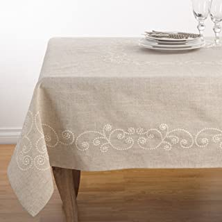 Fennco Styles Embroidered Swirl Design Linen Blend Tablecloth 67 x 180 Inch - Natural Table Cover for Home Décor, Banquets, Family Gathering and Special Events