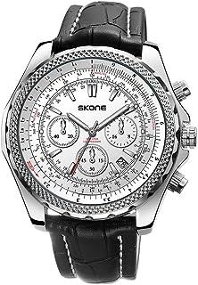 SKONE 9500EG Watch Men Brand Quartz PU Strap Daily Waterproof Round Dial Wrist Fashion Business Watch Relogio Masculino