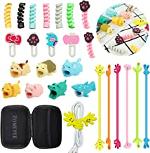 Animal Bite Cable Protector,ZOYJITU 27Pcs Set Include 15Pcs Cable Protector, 4Pcs Phone Stand,6Pcs Cable Organizer,4Pcs Headphone Cable for Phone Data Line Protector Cell Phone Accessories (27)