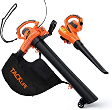 TACKLIFE 3 in 1 Leaf Blower/Vacuum/Mulcher, 12 Amp Blower, 175 MPH & 495 CFM, 5 Variable Blow Speed, 15:1 Mulching Ration,45L Collection Bag, KABV35A