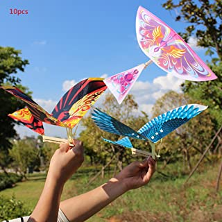 Seaskyer 10Pcs Elastic Rubber Band Powered Flying Birds Kite Funny Kids Toy Gift Outdoor