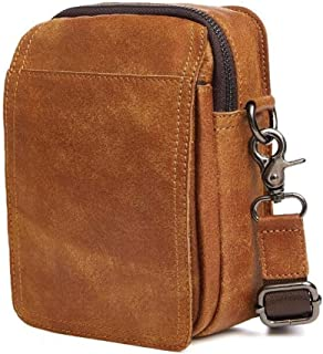 Outdoor Sport Multifunction Waist Pack, Men's Leisure Zip Shoulder Bags Leather Waist Bag Riding Bag for Outdoor Sports, Running, Cycling Trip, Mountaineering Etc (Size:13 * 6 * 17cm) Brown