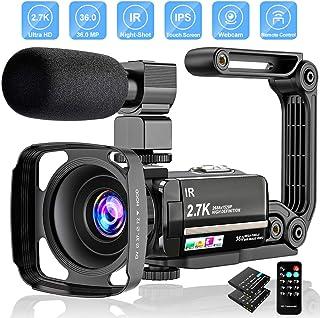 Videocámara Digital 2.7K UHD 36MP Vlogging Camera para Youtube IR Night Vision 3.0Pantalla táctil LCD 16X Zoom Digital Cámara Grabadora con micrófono Estabilizador de Mano Control Remoto 2 baterías