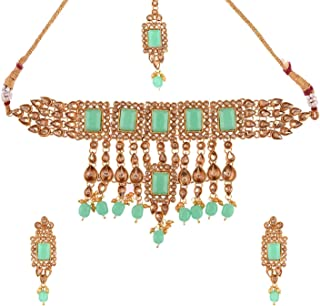 Efulgenz Indian Jewelry Choker Necklace Maang Tikka Earrings Bollywood Wedding Crystal Kundan Necklace Earrings Head Chain...
