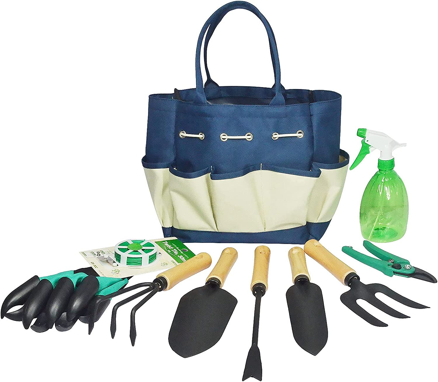Arkmiido Garden Tools Set 9 Pcs,Stainless Steel Hand Tools with Wooden Handle,5 Tools,Pruning Shears, Gardening Tie,Spray Bottle,Claw Gloves,Tote Storage Bag,Gardening Gifts for Women Men Gardener