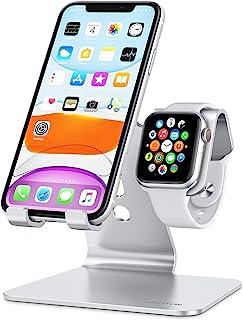 OMOTON 2 en 1 Soporte para iPhone y Apple Watch, Teléfono Móvil y Reloj Soporte de Aluminio Compatible con iPhone 12 Pro M...