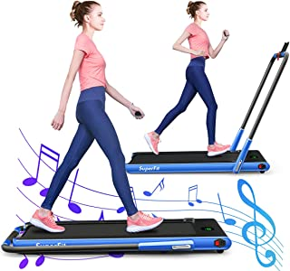 GYMAX Folding Treadmill, 2 in 1 Electric Running Machine with Blue-Teeth & LED Screen, Portable Under-Desk Walking Machine for Home, Office, Gym