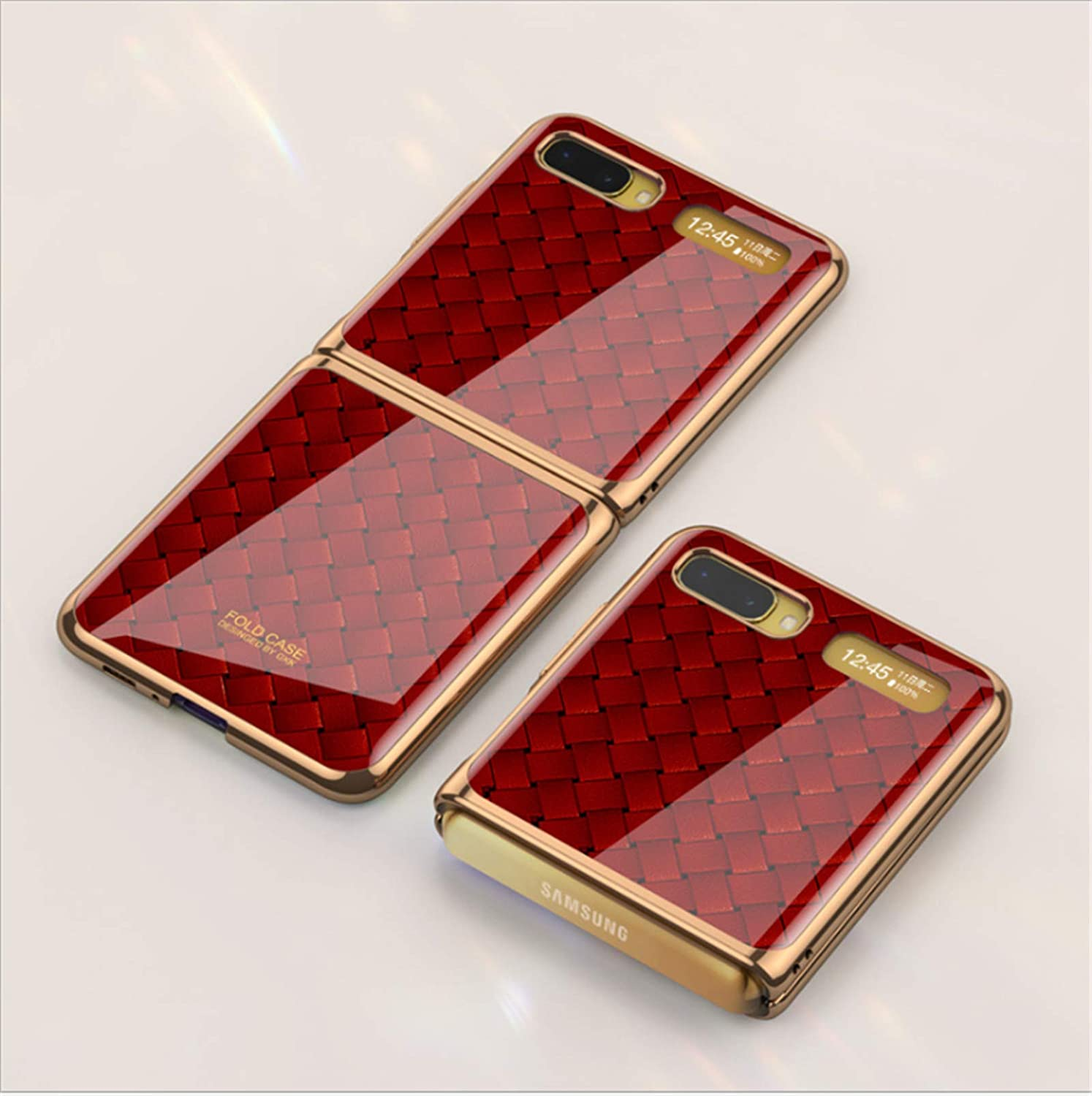 Luxury Tempered Glass Phone Case Protective Skin for Samsung Galaxy Z Flip 5G 2020 Fashion Electroplated PC Back Cover (Red Weave)…