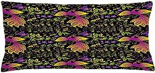 4 Piezas 18X18 Pulgadas Funda De Cojín De Almohada De Pájaro,Composición De Hojas,Flores Y Animales Con Alas Del Mundo De Fantasía,Funda De Almohada Decorativa Rectangular Para El Hogar