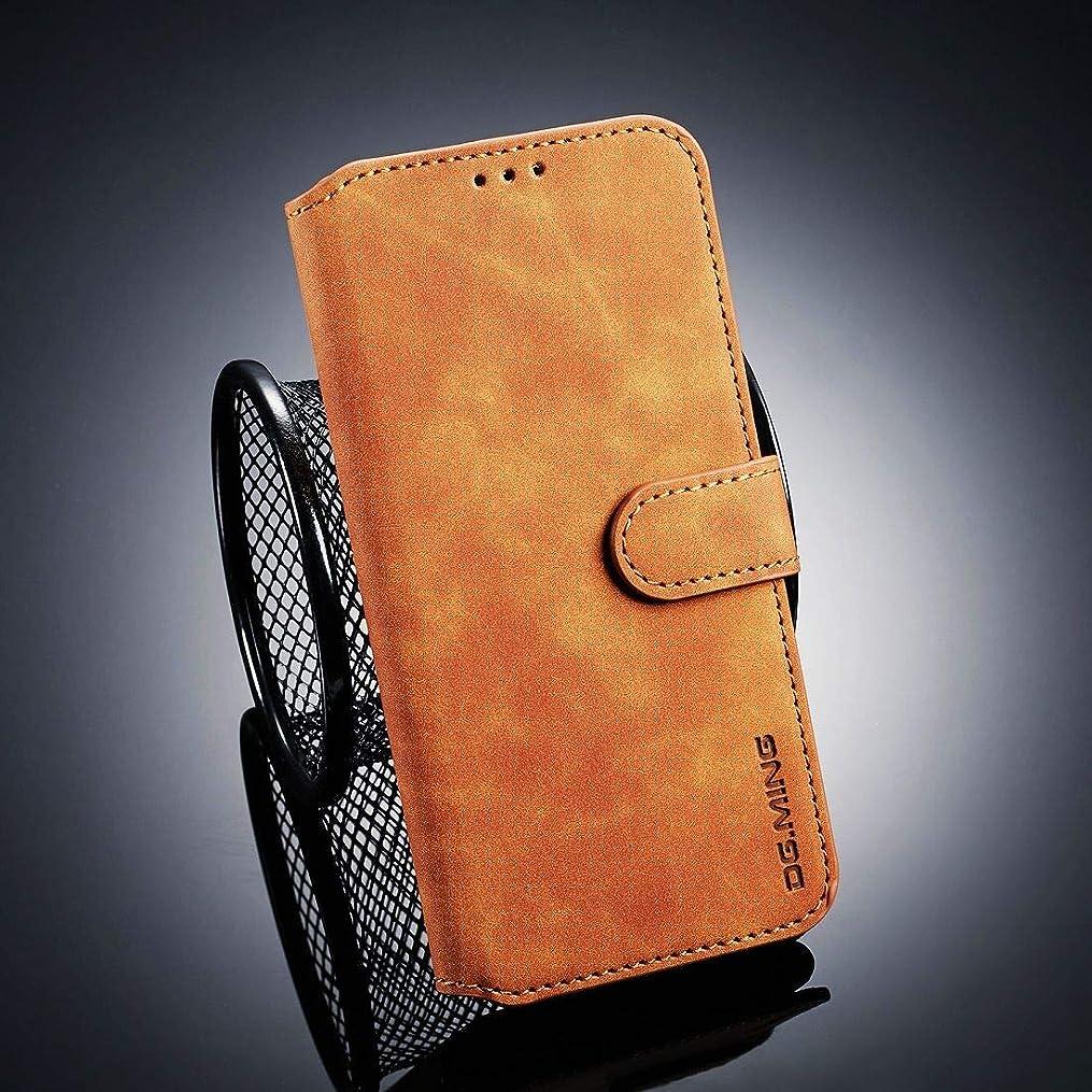 障害光電削除するWTYD 電話アクセサリー Huawei Honor 10 Lite用レトロオイルサイドホリゾンタルフリップケース、ホルダー&カードスロット&財布付き 電話使用 (Color : Brown)