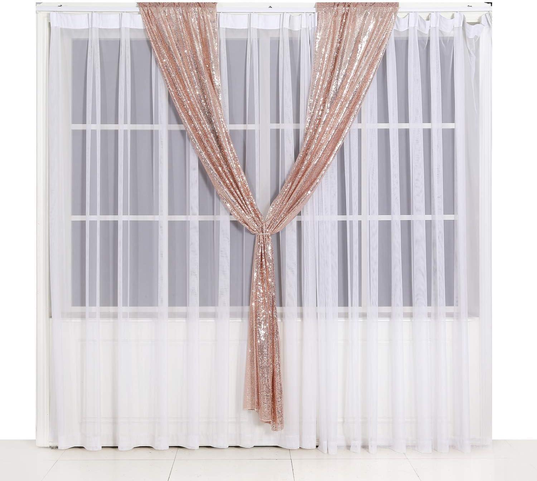 Eternal Beauty Rose Gold 2FTx8FT Backdrop Curtain Sequin Photo Backdrop Sequin Backdrop Curtain Pack of 2