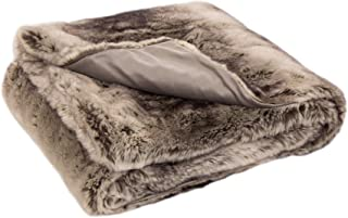 """Glitzhome 50""""x 60"""" Faux Fur Throw Blanket Brown Grey Soft Lightweight Blanket for Bed and Living Room (Face Fabric 770gsm;..."""