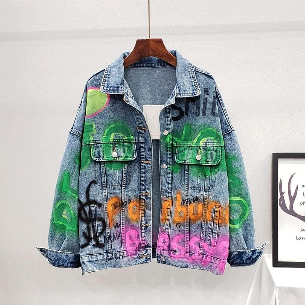 Jean Jacket Autumn Oversized Letter Painted Print Frayed Washed Denim Coat Women's Jacket Spring Casual Fashion Coats