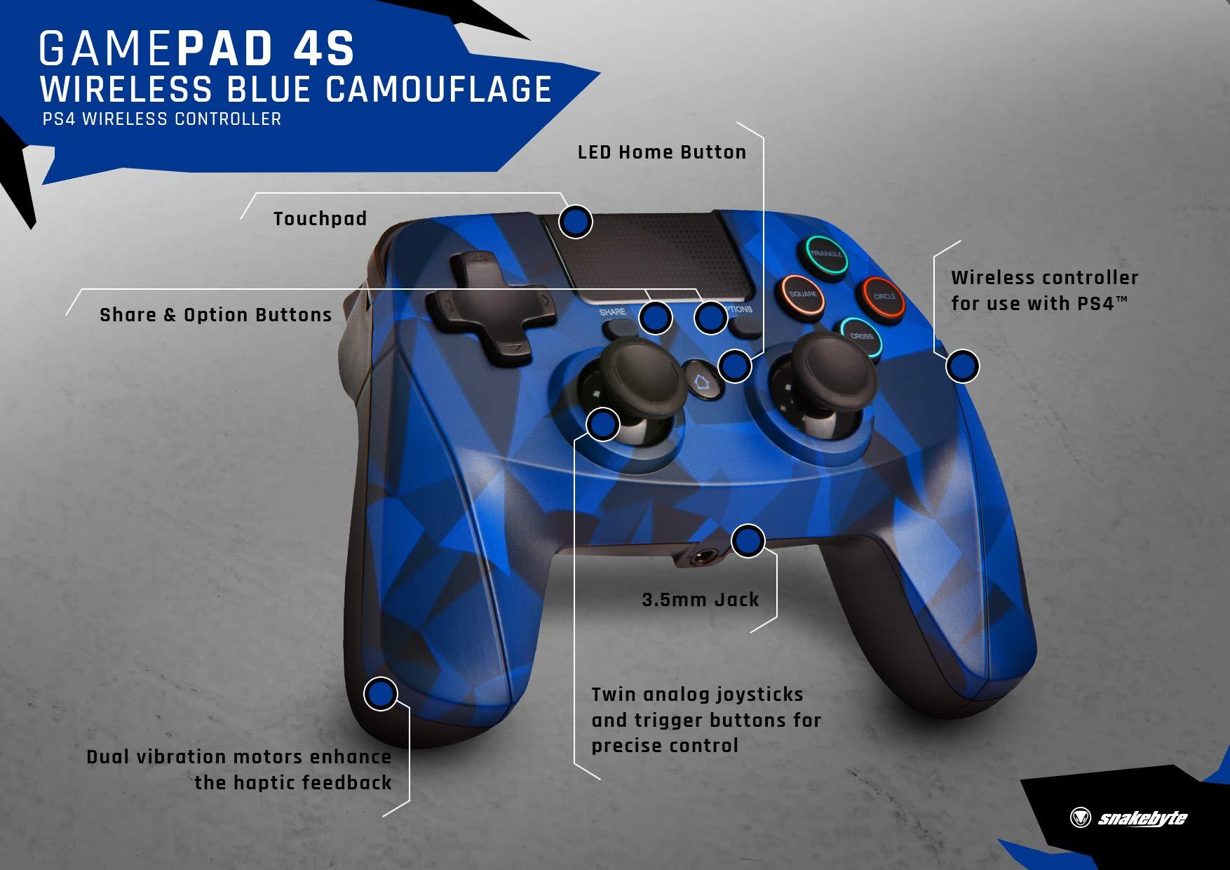Snakebyte 4 S Wireless Gamepad PlayStation 4, Playstation 3 Azul, camuflaje: Amazon.es: Informática