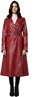 Elezay Women Faux Leather Long Coat with Belt Ankle Length Maxi Winter Jackets Black Red