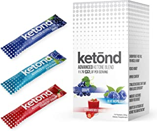 Ketond Advanced Ketone Supplement - 15 'On The Go' Packs - Exogenous Ketone Supplement 11.7g of BHB (Beta-Hydroxybutyrate) Salts to Lose Weight, Increase Energy (Grape, Blue Raspberry and Strawberry)