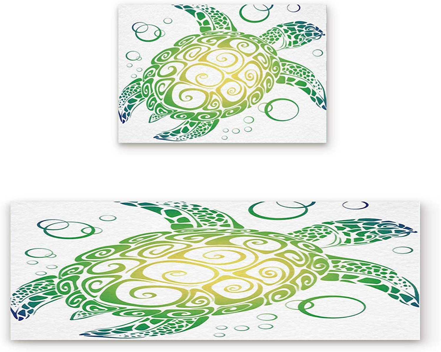 KAROLA 2 Piece Non-Slip Kitchen Mat Doormat Runner Rug Set Thin Low Pile Indoor Area Rugs Green Sea Turtle Design 19.7 x31.5 +19.7 x63