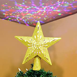 OurWarm Christmas Tree Topper Lighted Star Tree Topper Gold Christmas Tree Star with Adjustable Rotating Magic Rainbow Projector Lights, 3D Hollow Star Tree Topper for Christmas Tree Decorations