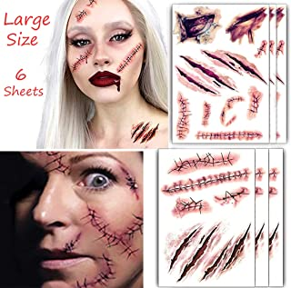 Large Size Horror Realistic Fake Bloody Wound Stitch Scar Scab Waterproof Temporary Tattoo Sticker Halloween Masquerade Pr...