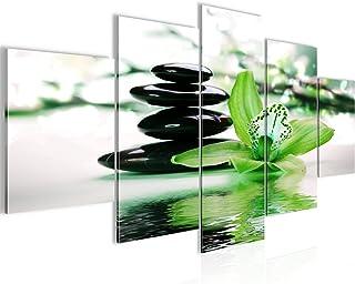 Fleurs Orchidée Tableau Murale Impression sur Toile Intissee 5 Parties Feng Shui Vert Chambre Salle 204253c
