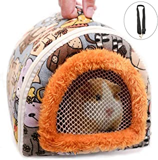 Portable Small Animals Hedgehog Hamster Carrier Bag with Detachable Strap Zipper Breathable Outdoor Travel Small Guinea Pig Rat Chinchillas Hamster Hedgehog Carrier Pounch Bag for Small Animal Carrier