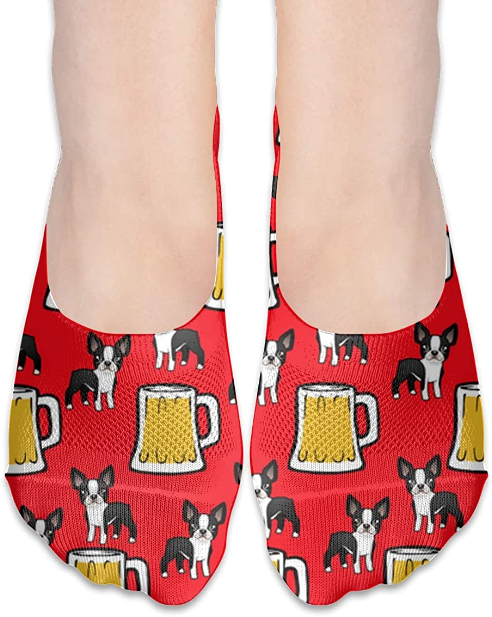 No Show Socks Women Men For Boston Terriers With Beer Flats Cotton Ultra Low Cut Liner Socks Non Slip