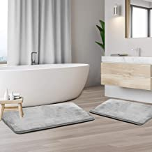 Memory Foam Bathrug - Light Gray, Bath Mat, Set of 2, Large 20 x 32 Inches, and A Small 17 x 24 Inches, Non Slip Latex Fre...