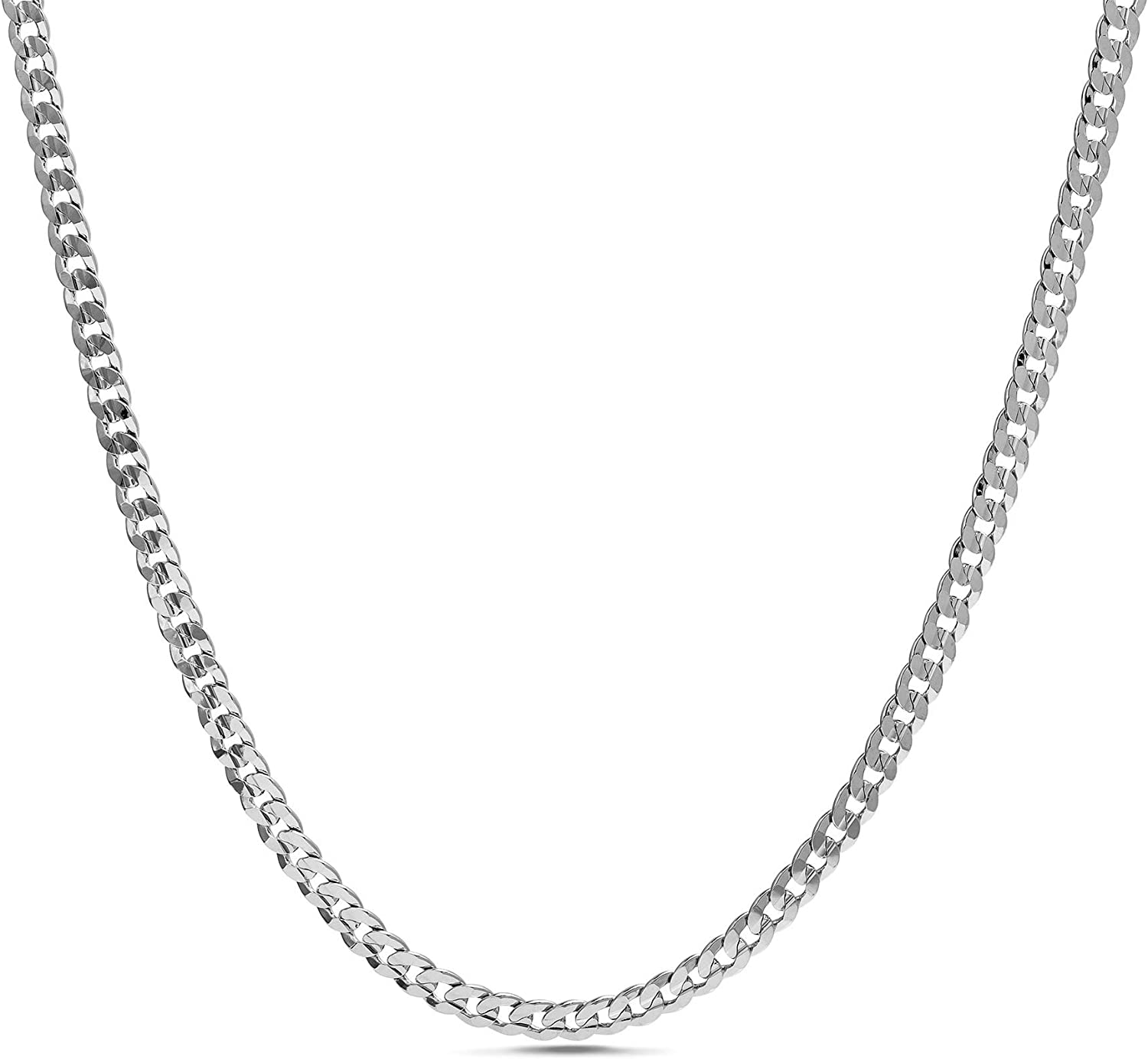 Nautica 1.2mm - 2.3mm Miami Cuban Chain Necklace for Men or Women in Rhodium Plated Brass