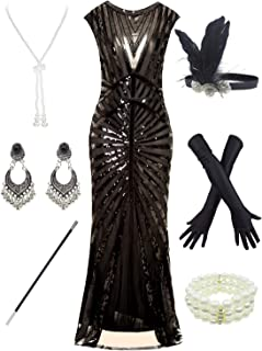 Women 1920S Gatsby Sequin Mermaid Formal Evening Dress with 20s Accessories Costume