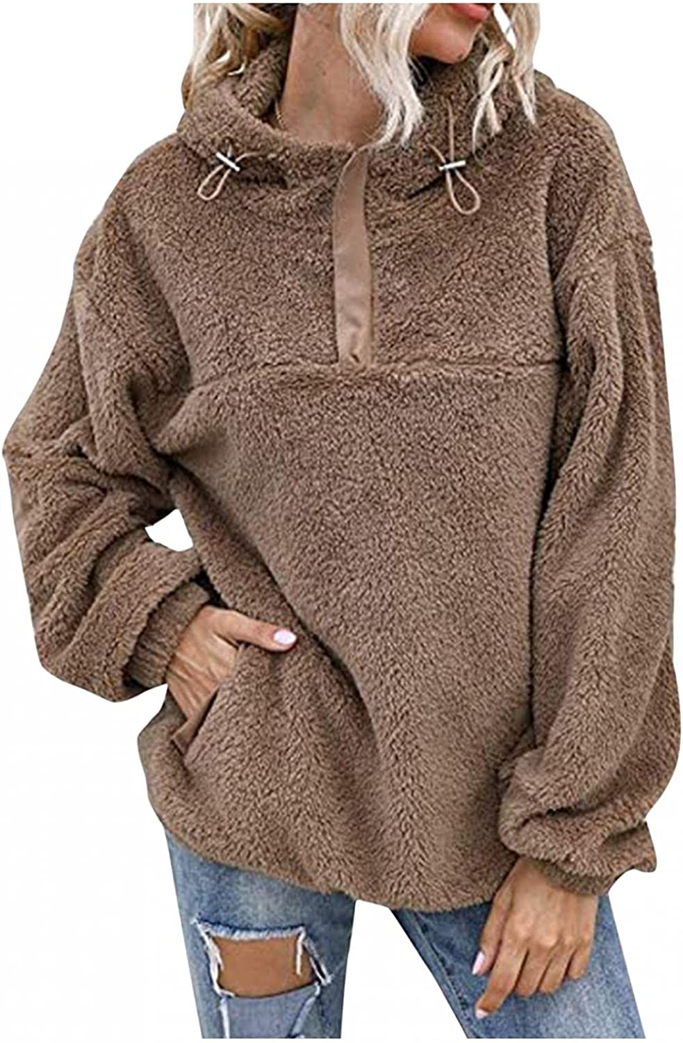 LEIYAN Womens Oversized Sherpa Hoodie Pullover Long Batwing Sleeve Shaggy Pullovers with Pockets Tops Outwear