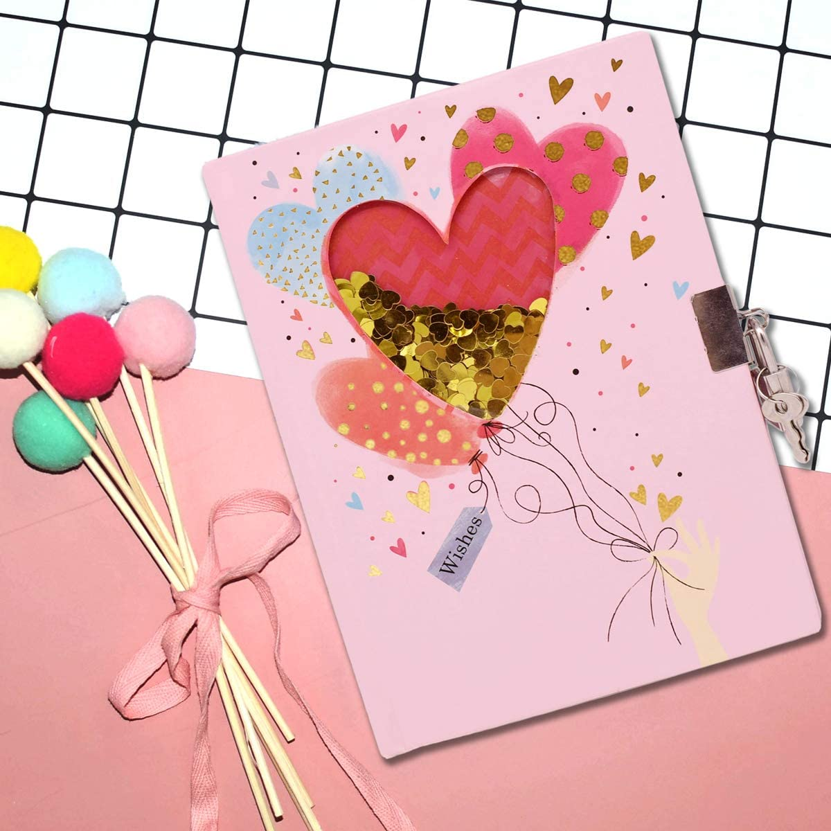 Heart Pattern Shakable Sequin Journal Secret Lock Diary Notebook for Kids EverCreatives Diary with Lock for Girls and Boys